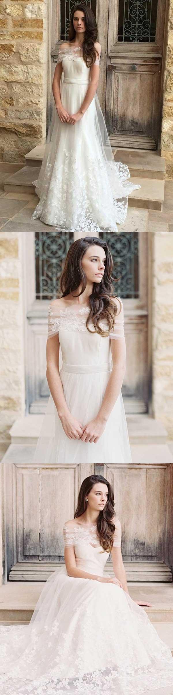 Aline offtheshoulder floorlength short tulle wedding dress