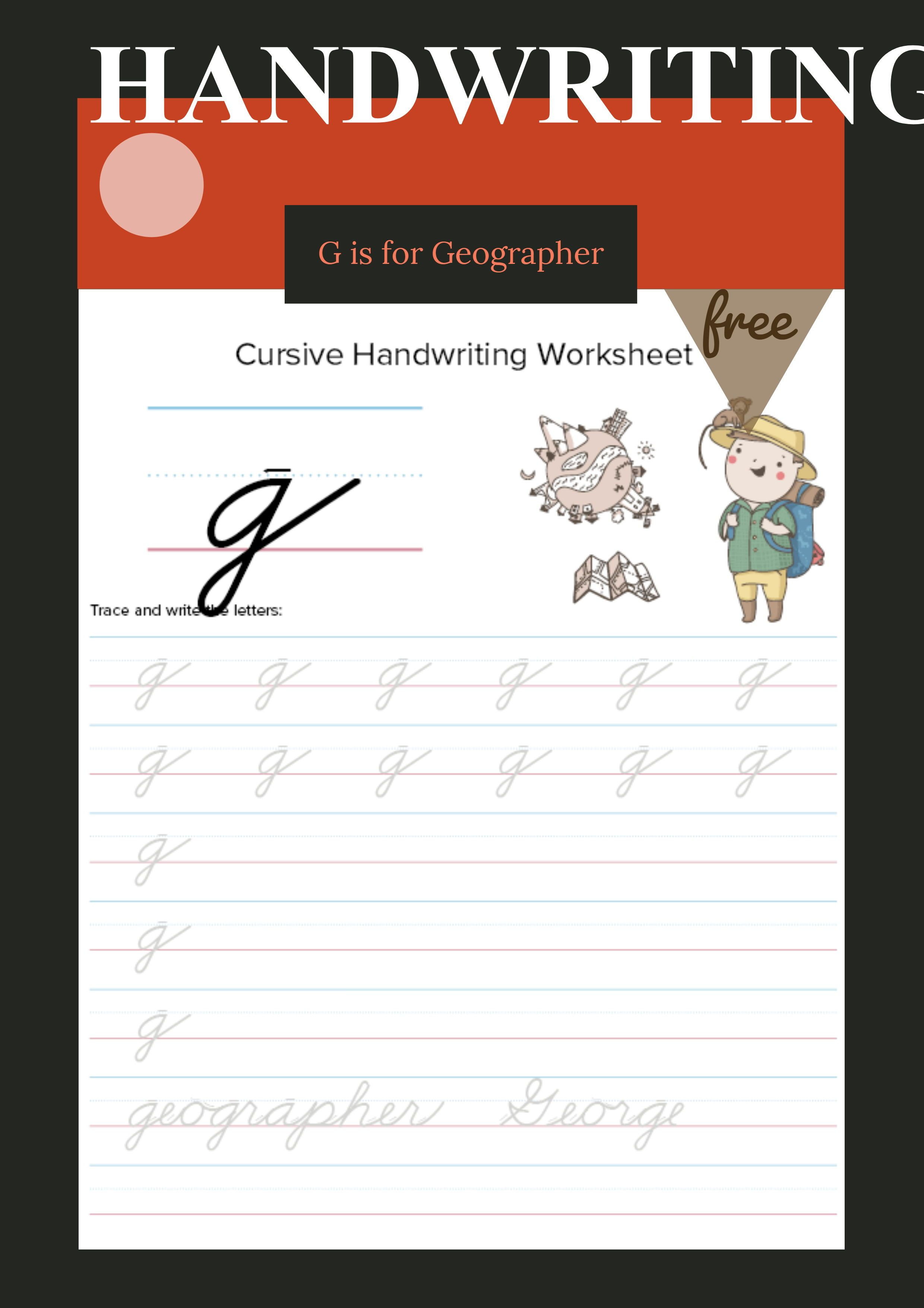 Lowercase Cursive G Worksheet