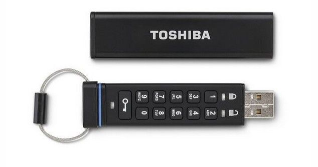 Toshiba Encrypted USB Drive with Integrated Mini-Keyboard