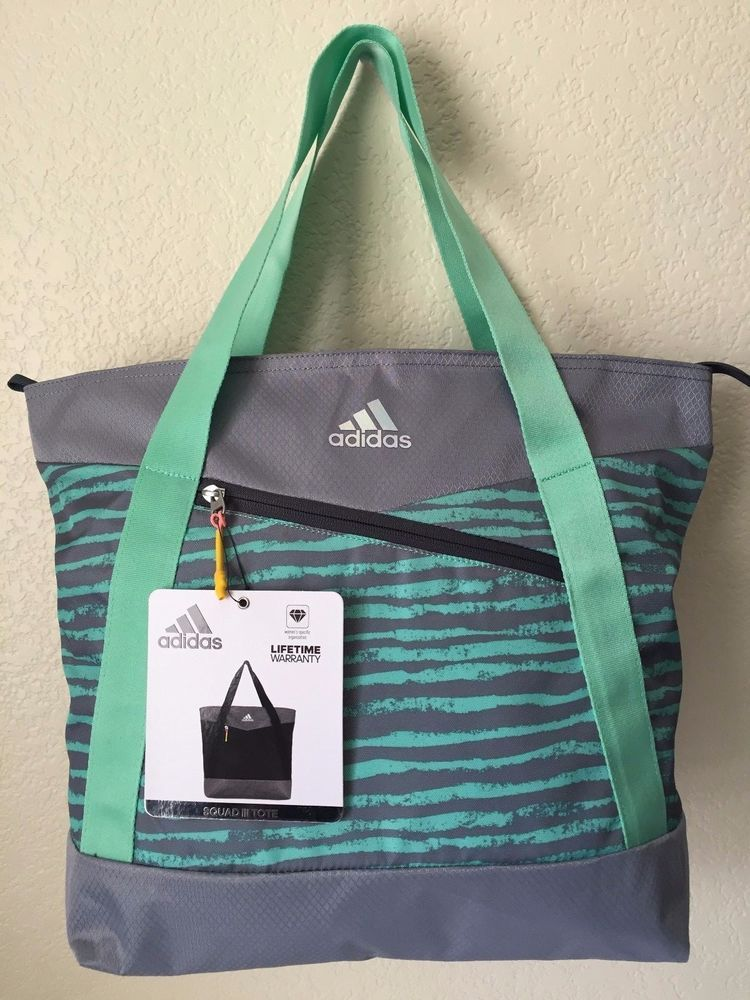 f00b9465d6 ADIDAS Squad III Tote Chalk Stripe Green Glow Women Gym Bag  Adidas