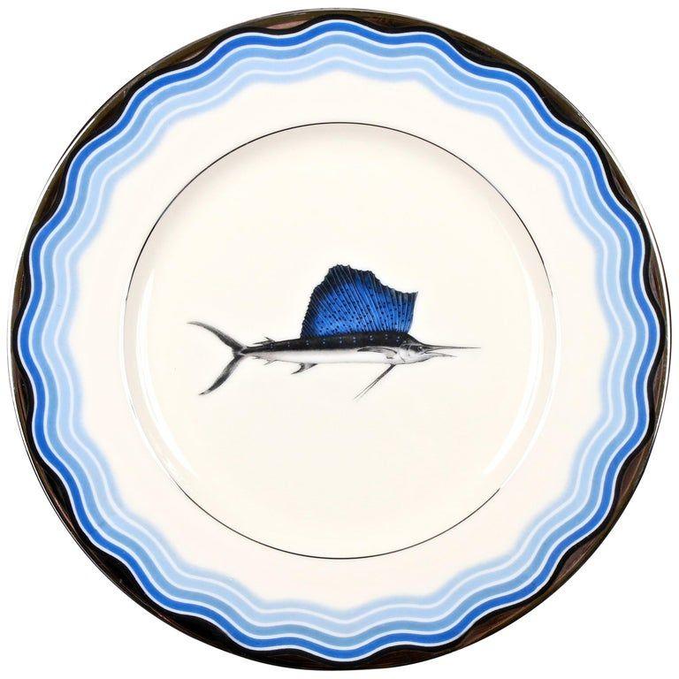 12 Vintage Lenox Sailfish Plates From a unique