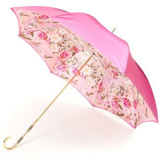 Pink Floral Double Canopy Luxury Umbrella by Pasotti