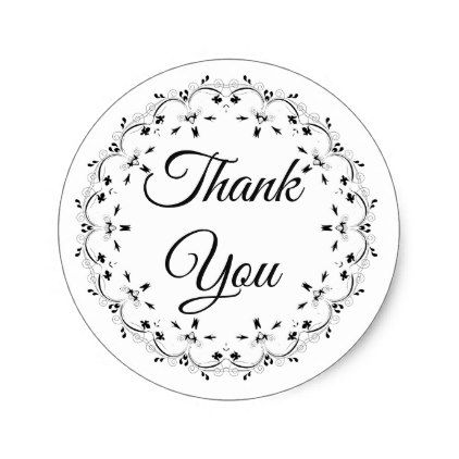 Black And White Thank You Stickers Zazzle Com Thank You Stickers Wedding Stickers Wedding Thank You Gifts