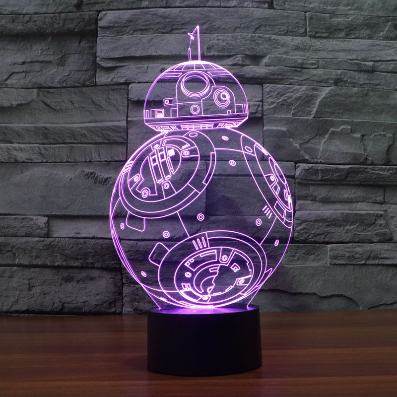Cute Star Wars Lava Lamp Force Awaken Bb 8 Droid 7 Color Changing Light Night Led Lamp Acrylic 3d Light Decorative 3d Led Night Light 3d Led Light 3d Led Lamp