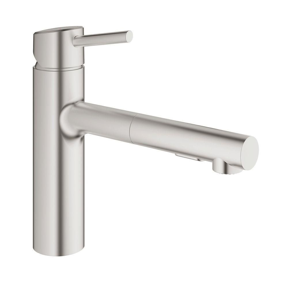 GROHE Concetto Single Hole Single-Handle Bathroom Faucet with Pull ...