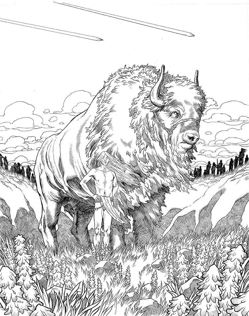 Realistic Indian Coloring Pages Buffalo Coloring Page Az