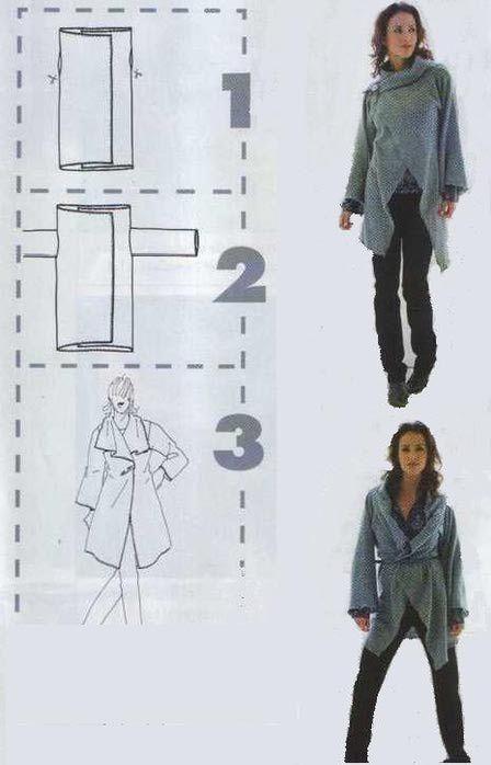 Patrón de chaqueta rectángulo   chal c/manga   Pinterest   Patrón de ...