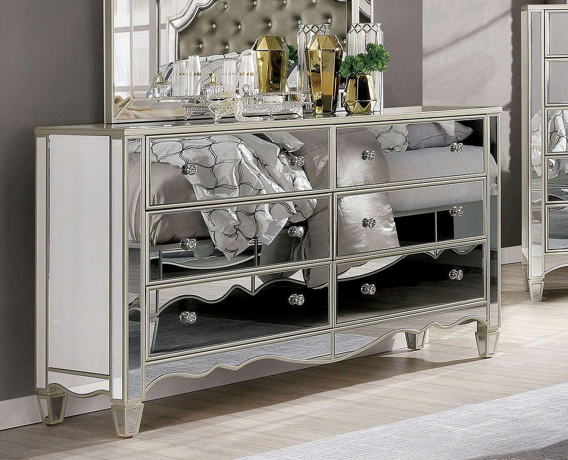 Eliora Dresser Mirrored Bedroom Furniture Wooden Bedroom