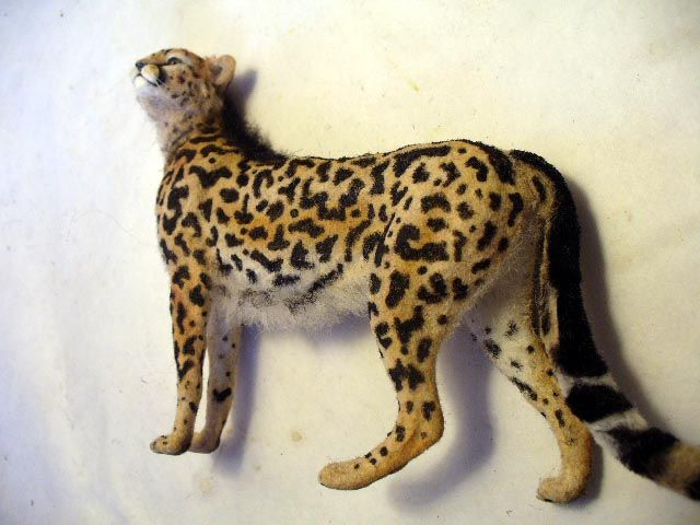 King Cheetah. Hand sculpted with real hair by Linda Fisher.