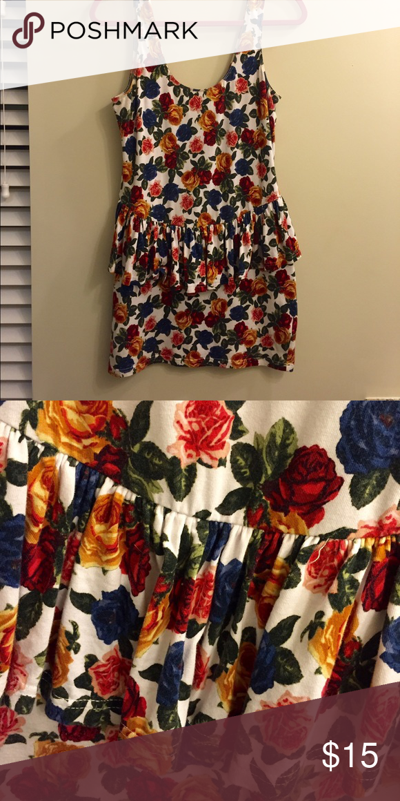 """Flower peplum dress Cute spring floral dress with ruffled peplum, 1""""straps, and a flattering scoop neckline. Forever 21 Dresses Mini"""