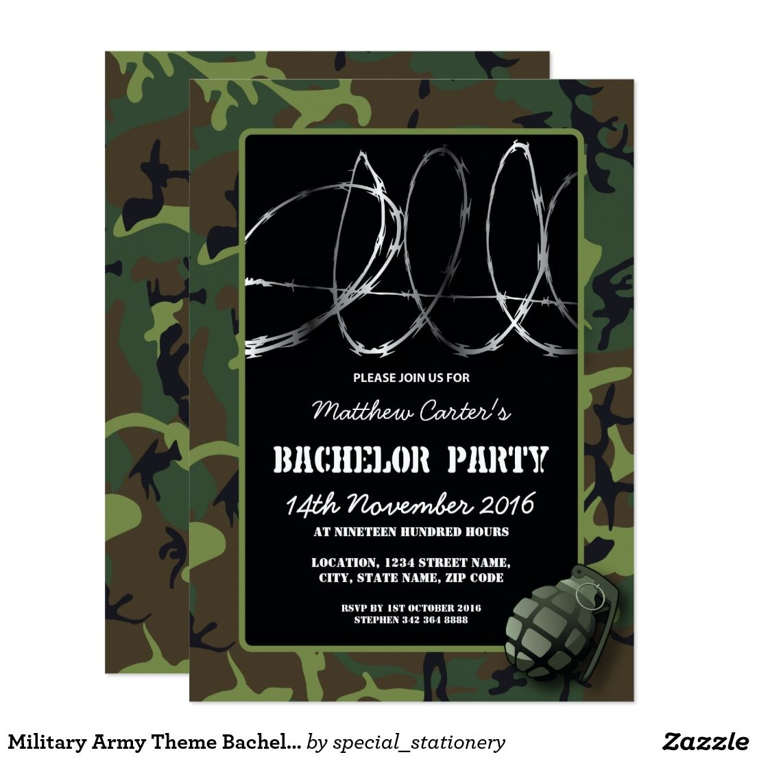 Military Army Theme Bachelor Party Invitation | Bachelor party ...