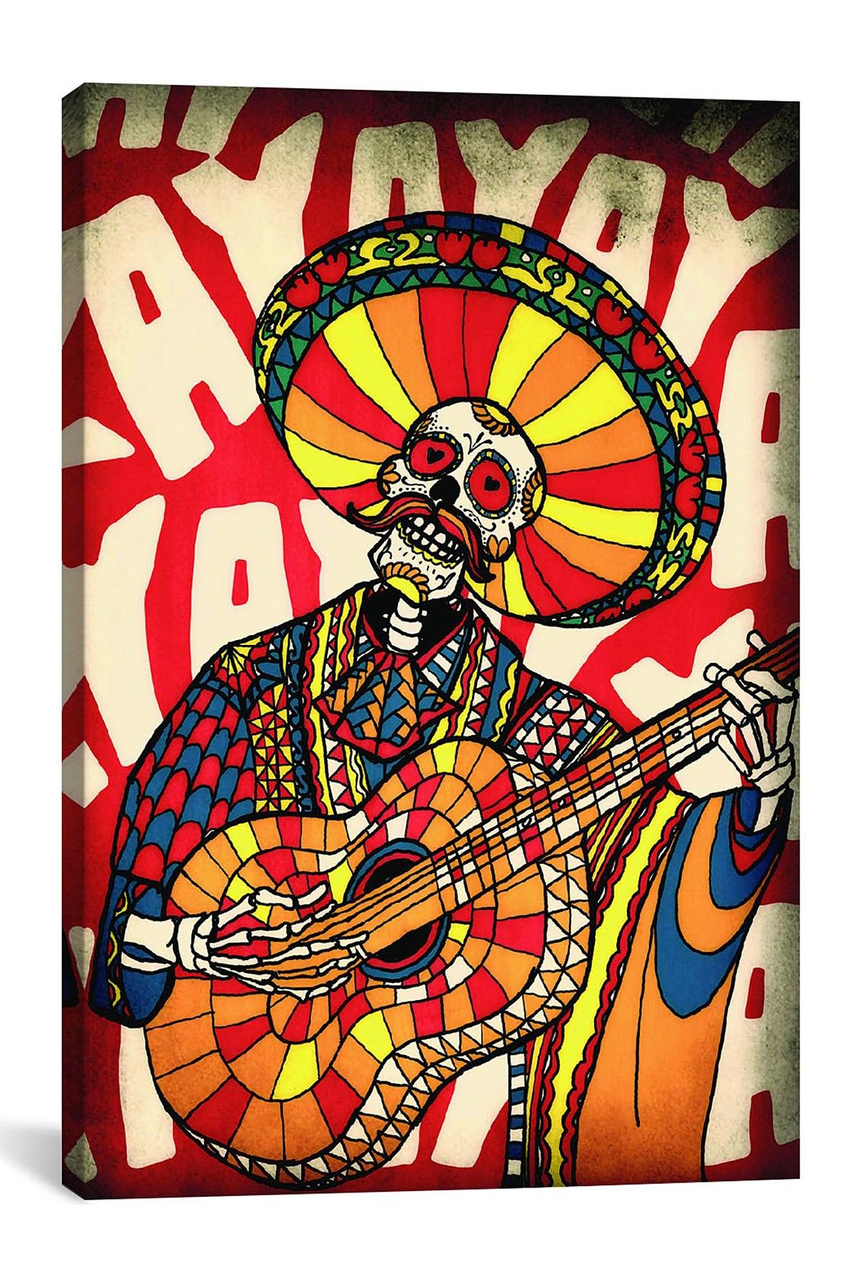icanvas mariachi canvas print skull wall art art on icanvas wall art id=45512