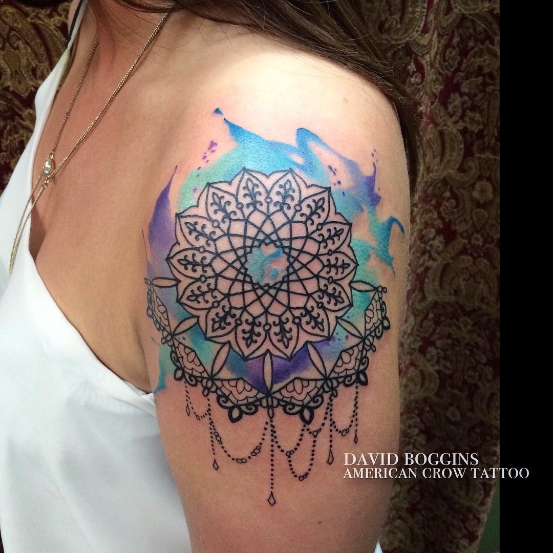 David boggins tattoos and loved this mandala watercolor combo on