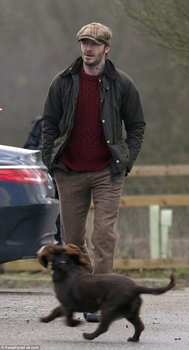 David Beckham dons his best tweed flat cap to shoot an advert in the park  in London... and brings along his beloved pooch Olive as his co-star 8033410382d