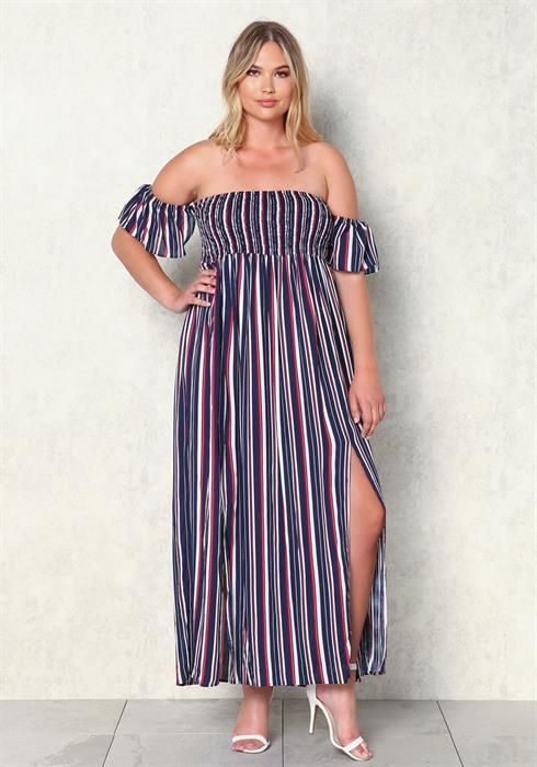 2e2539281da6 Plus Size Pinstripe Off Shoulder Maxi Dress