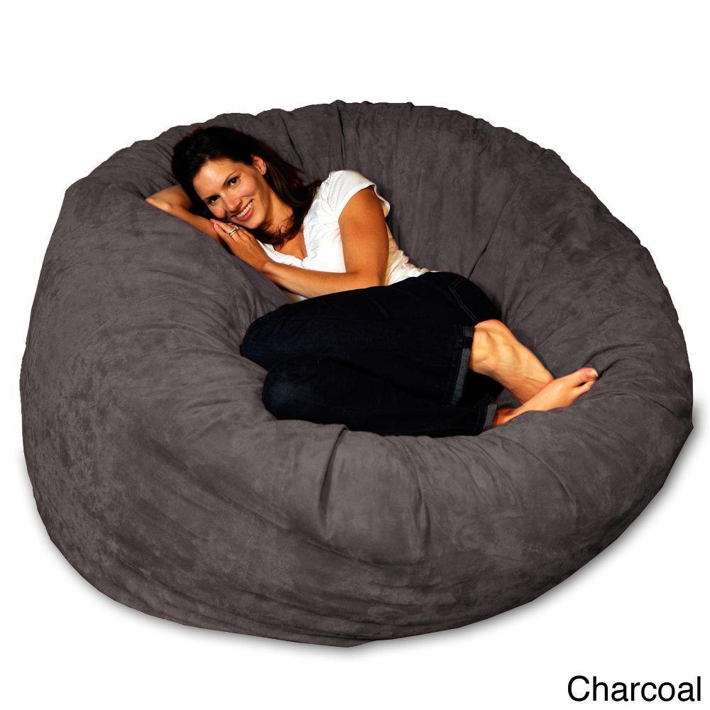 5 Foot Memory Foam Bean Bag Chair Charcoal Micro Suede Grey Size Large Microfiber
