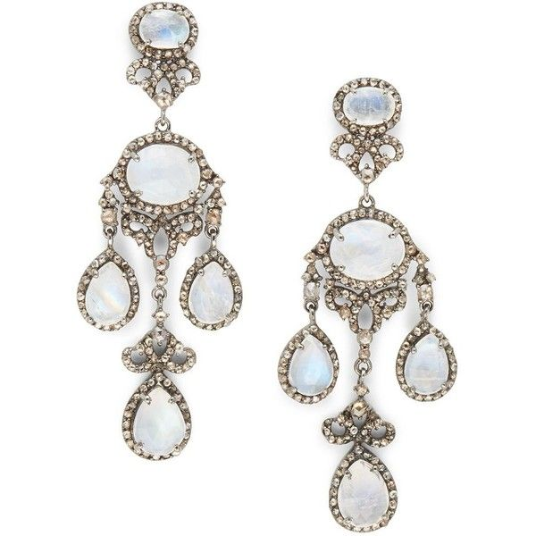Bavna Round Moonstone & Diamond Stud Earrings BzYyUiZoZr