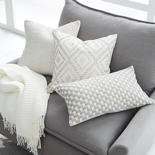 Gray Couch With Yellow Blanket And Throw Pillows: Embellished White Pillow Covers With Metallic Prints