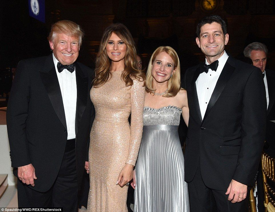 Ivanka stuns in a black and white gown as she is joined by Tiffany