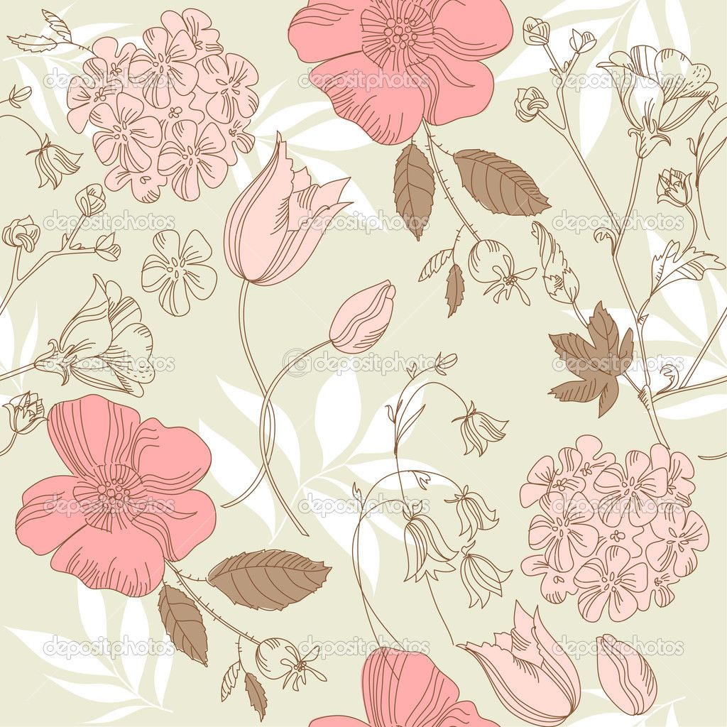 Vintage Floral Pattern | Seamless vintage flower pattern ...
