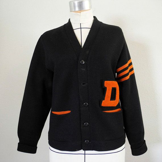 vintage 1950s varsity letterman sweater black and orange cardigan letter d wool small medium sweaters vintage and black