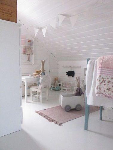 chambre bebe fille blanche sous pente tres epuree et soft | oliM ...