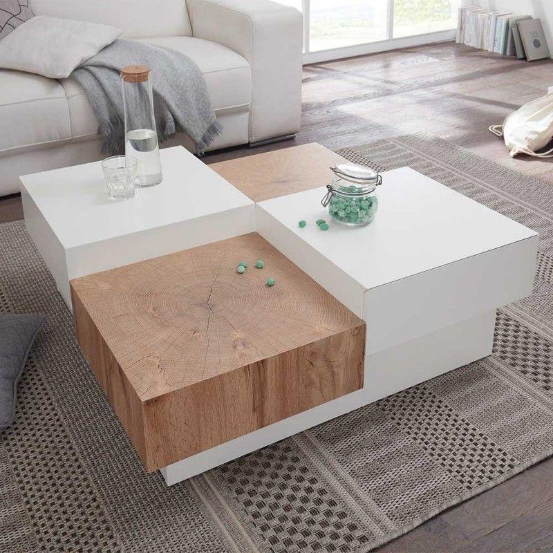 90x90 Design Couchtisch Fur Das Wohnzimmer Aus Mdf In Weiss