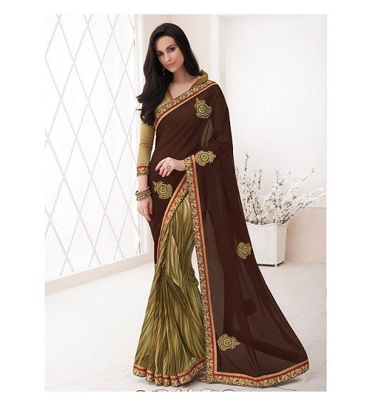 Light Green Georgette Saree With Print And Zari Work #bandbaajaa.com #bandbaajaa #weddingsarees #weddingsaris #bridalsarees #bridalsaris #designersarees #designersaris #sarees #saris #weddingwear #weddingshopping