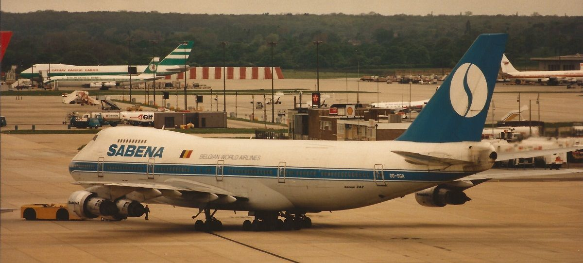 SABENA Boeing 747129A OOSGA Gatwick LGW EGKK c1987