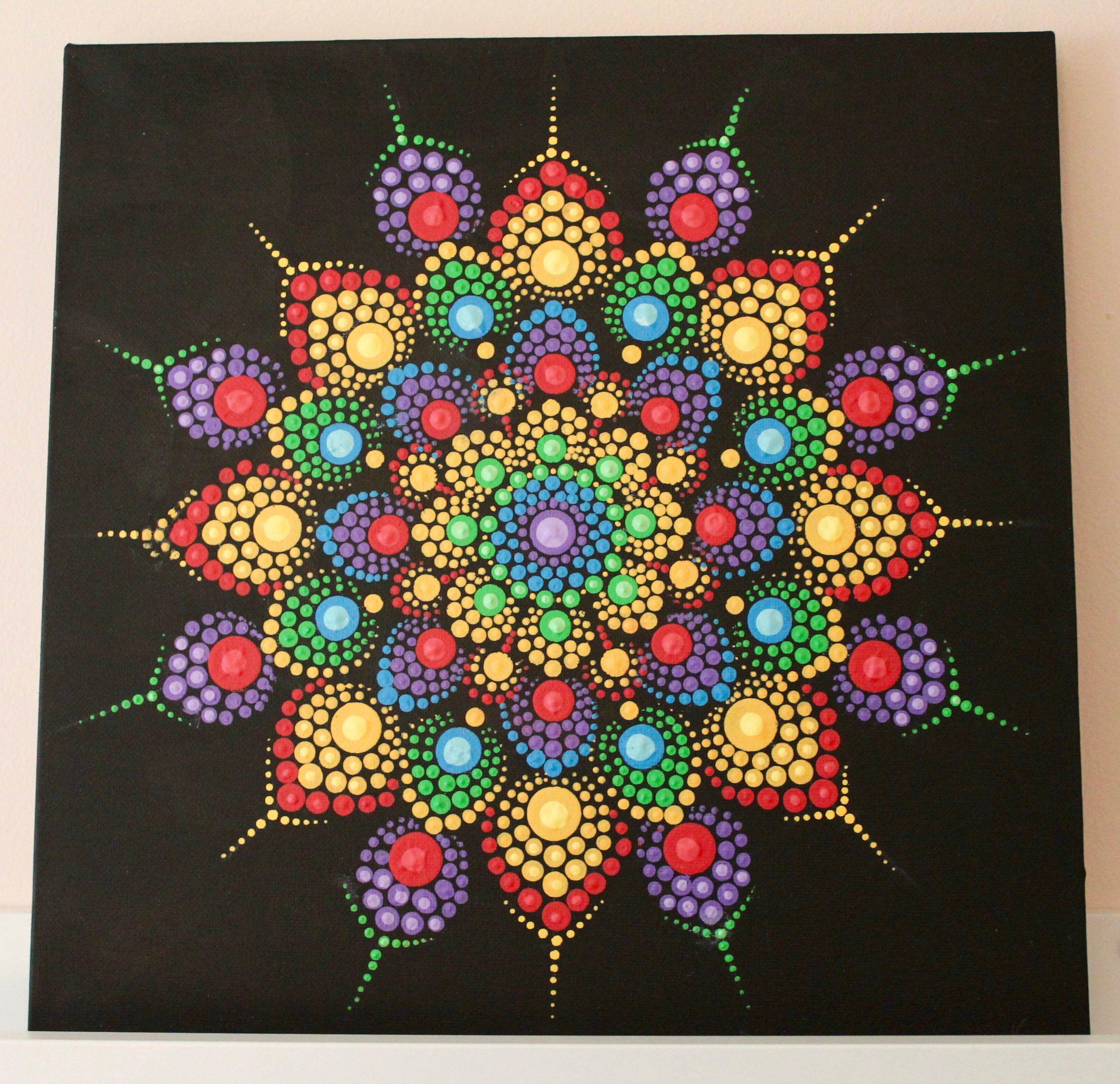 Handmade Dot Mandala On Canvas Patterns Pinterest Mandala