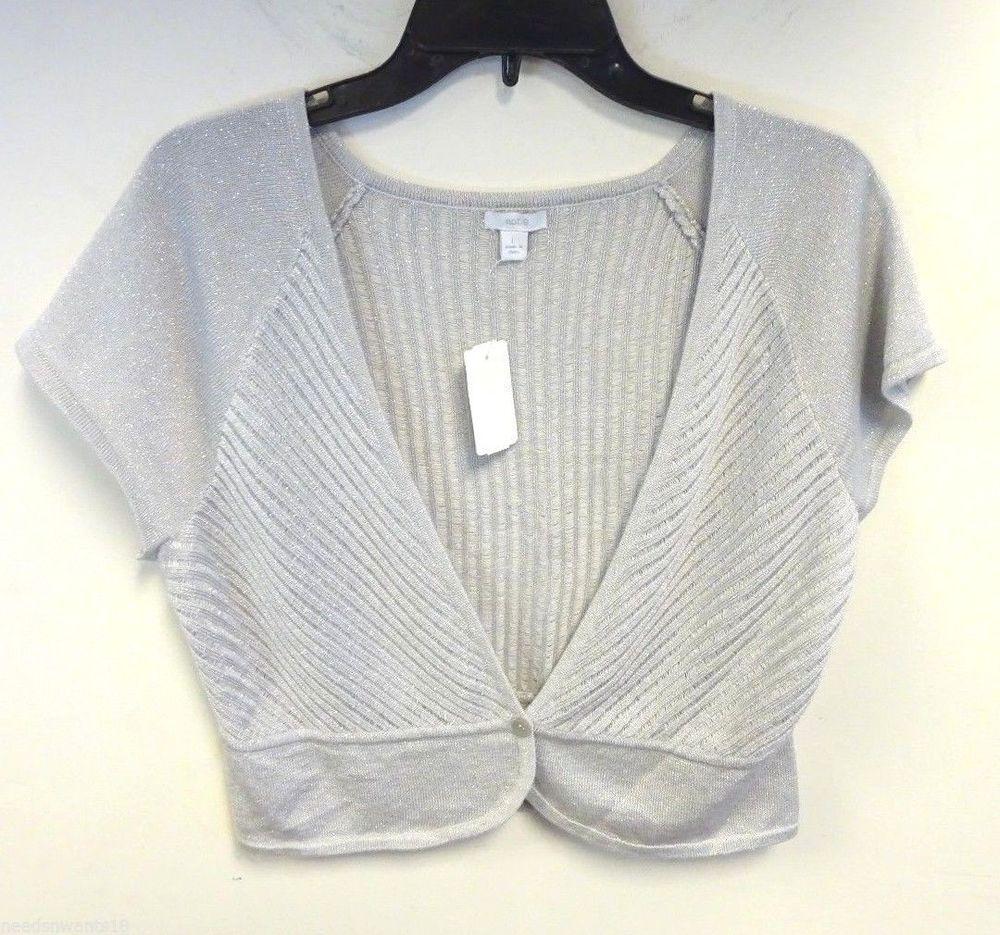 APT. 9 Silver Gray Metallic Wide Short Sleeve 1 Button Cardigan ...