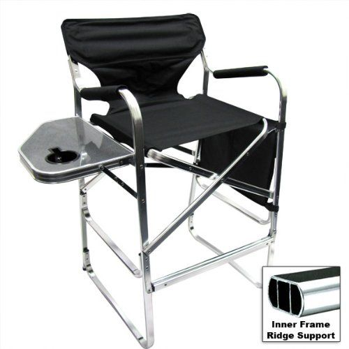 Deluxe Tall Folding Directors Chair Foldable Chair With Side Table And Cup Holder Xl Comfort Design Learn Mo Foldable Chairs Directors Chair Camping Chairs