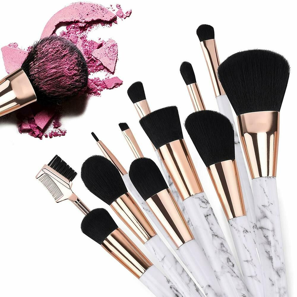 Marble Make Up Brushes Professional 12 Pieces Girls Marble