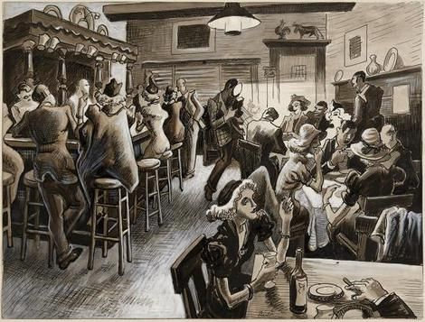 Thomas Hart Benton, Thursday Night at the Cock & Bull. It's the Maid's Night Out (ink, gouache) on ArtStack #thomas-hart-benton #art