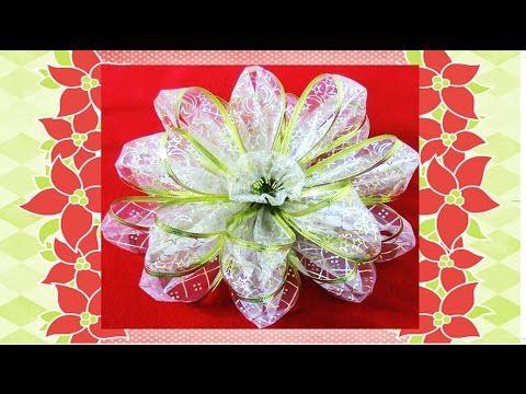 Flores De Navidad Kanzashi En Organza Christmas Kanzashi Flowers In Ribbons Youtube Flor De Navidad Artesanías De Flores Artesanías De Navidad