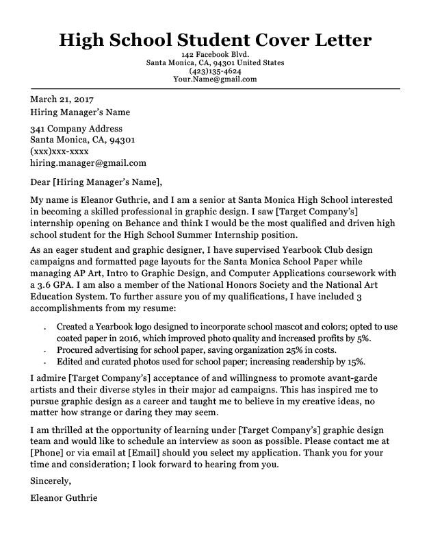 Cover Letter Template For Students Cover letter for
