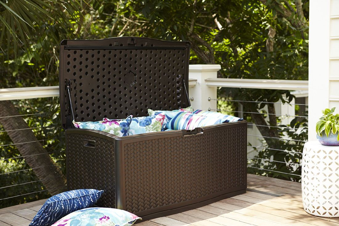 Keter Kissenbox Rockwood Tuck Away Patio Essentials In A Deck Storage Box That Doubles As
