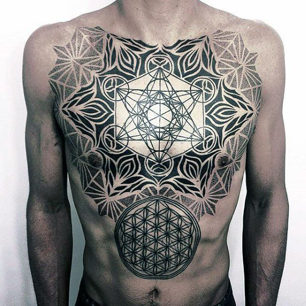 Sacred Geometry Male Flower Of Life Chest Tattoos
