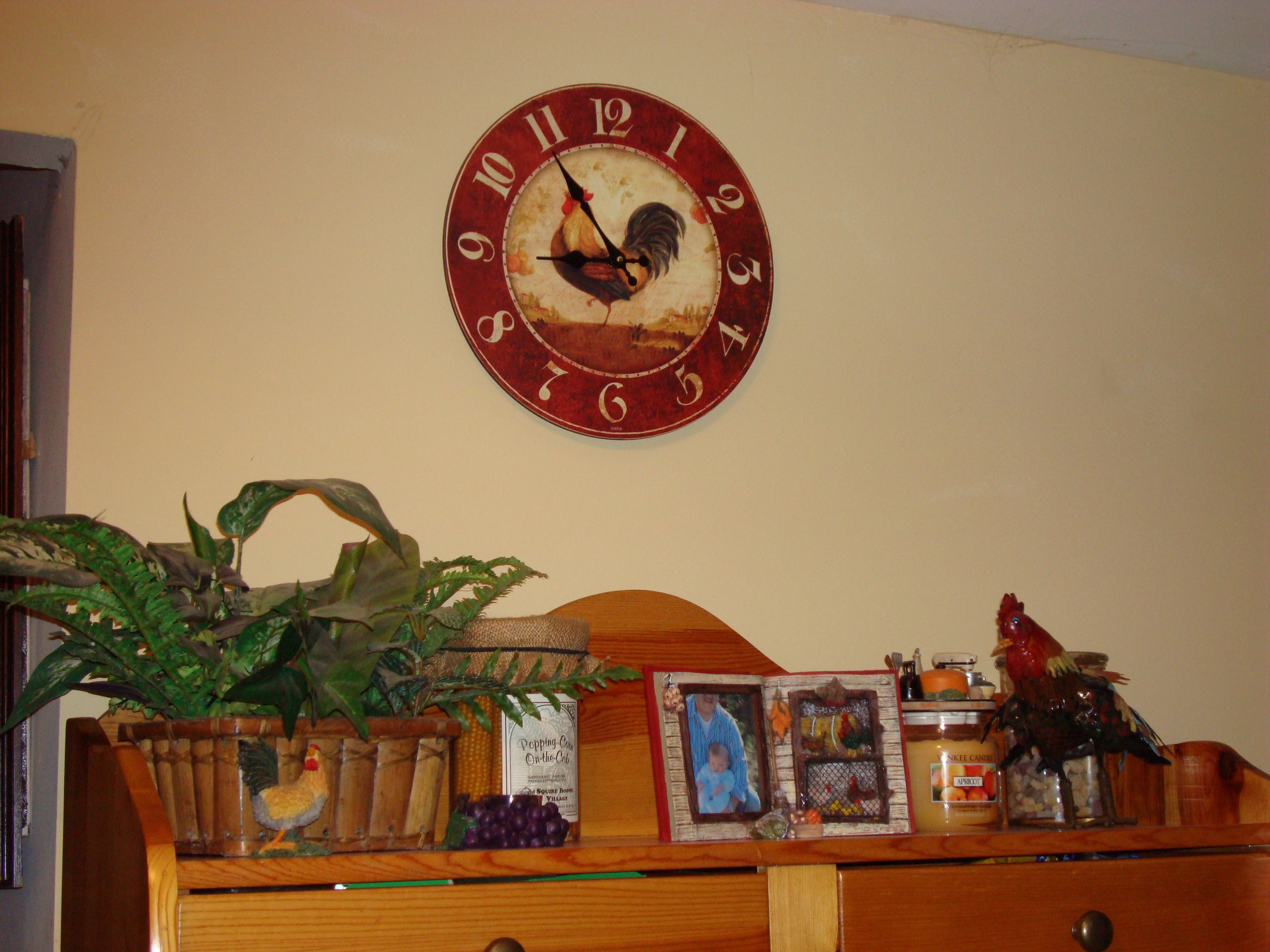 My kitchen clock and other rooster things.