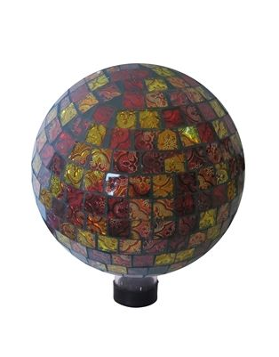 """10"""" Red and Gold Gazing Globe.  Liven up your outdoors with our amazing gazing globe collection for an enchanting and colorful display. Use them as an accent to your patio or move them out in to the garden to creat a perfect centerpiece for your favorite outdoor setting. #gazingglobe #gazingball #gardendecor"""