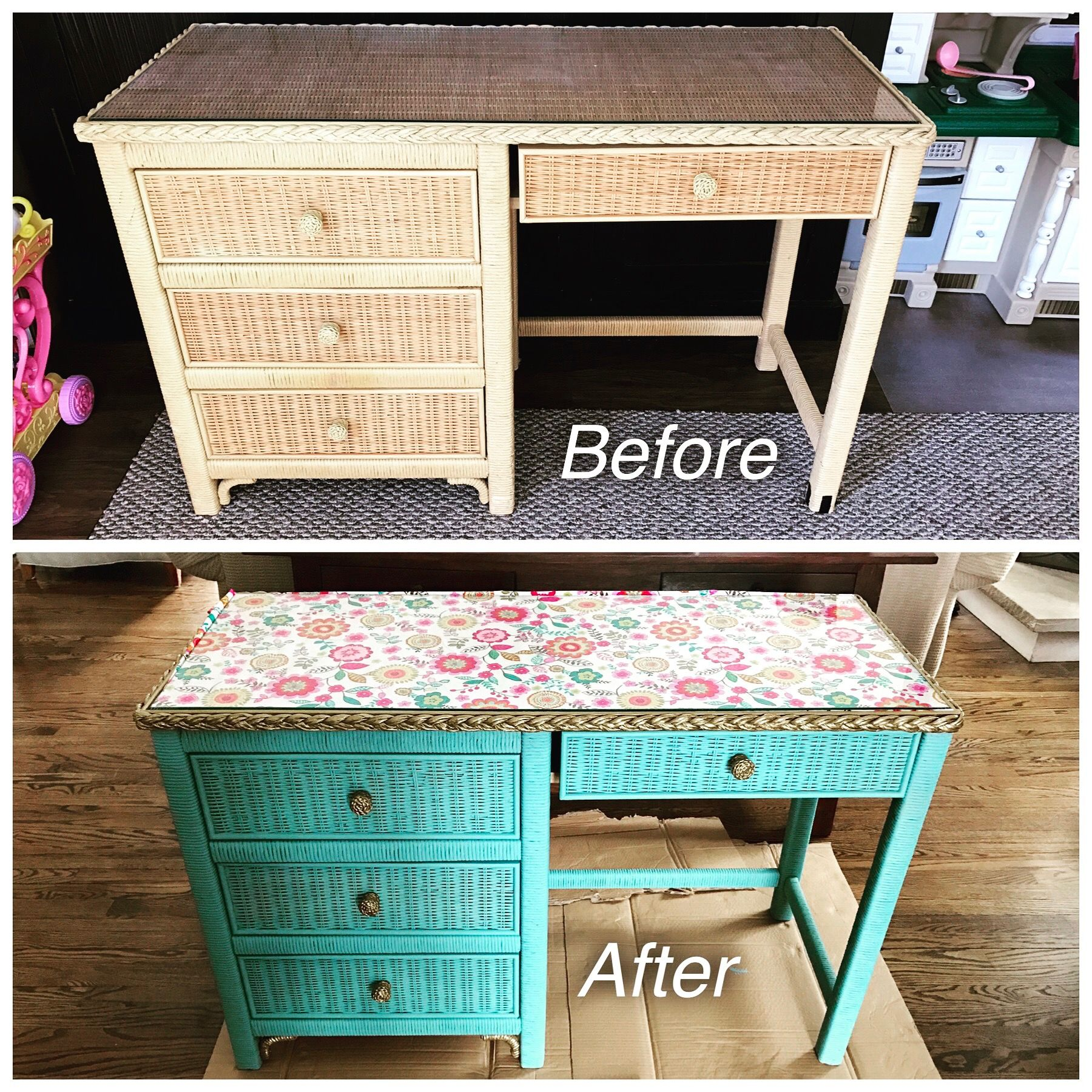 Henry Link Wicker Desk Makeover Updated With Annie Sloan Provence