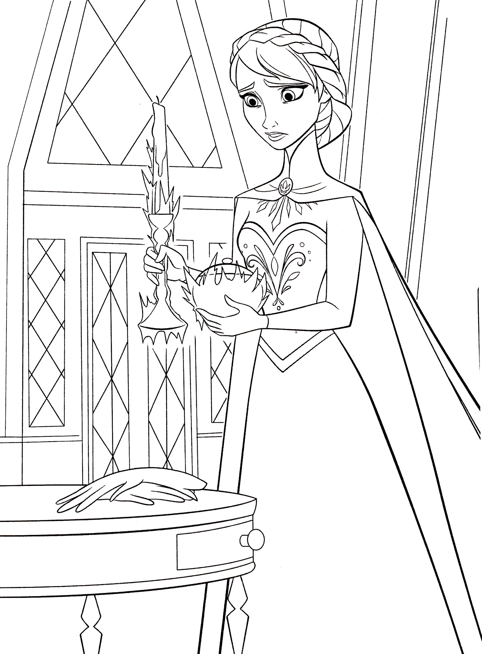 Walt Disney Coloring Pages Queen Elsa Characters