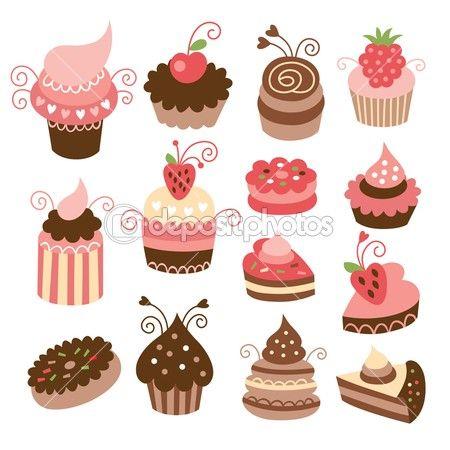 Set of cute little cakes by Birdhouse - Imagens vectoriais em stock