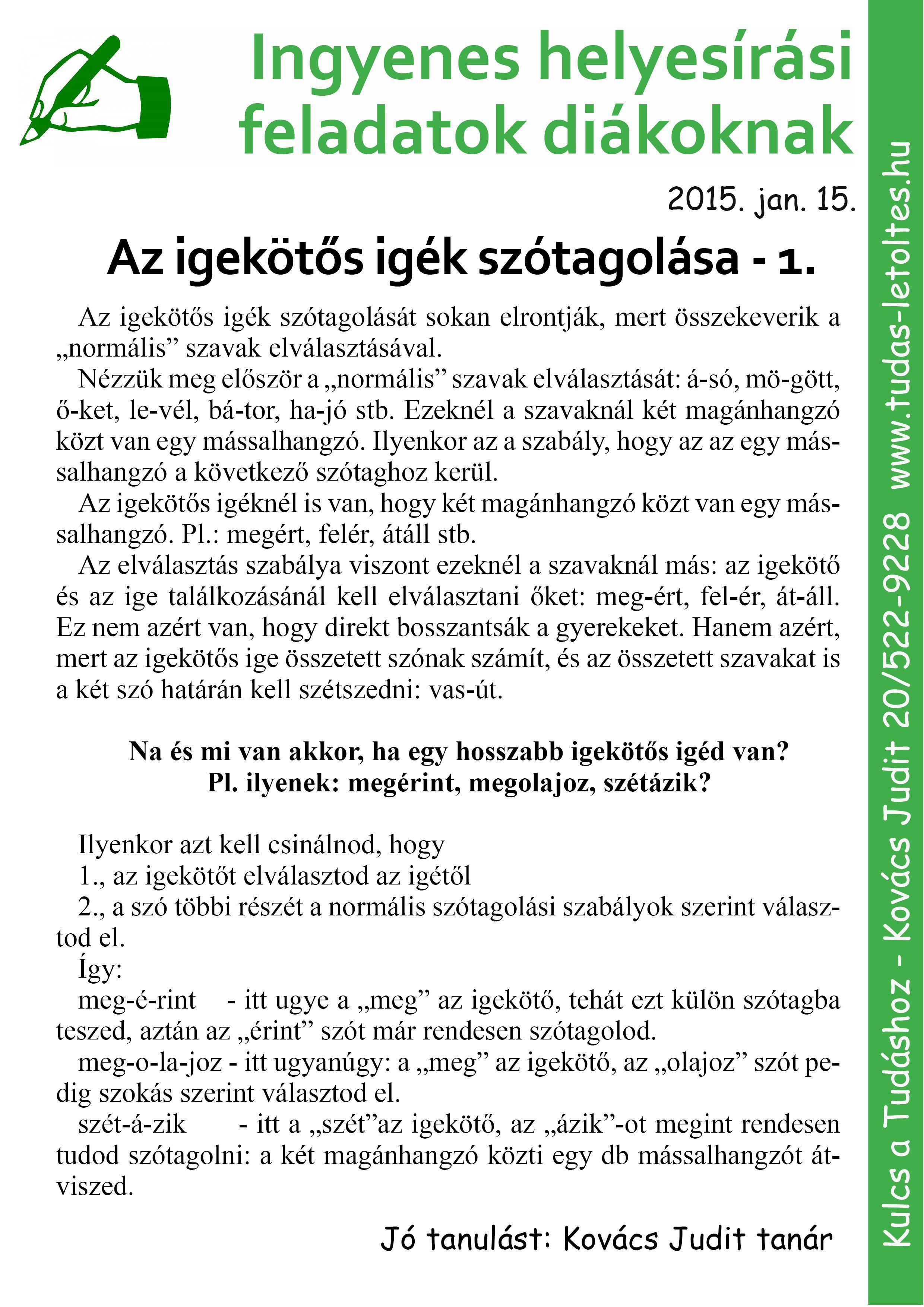 Helyesiras Igekot S Igek