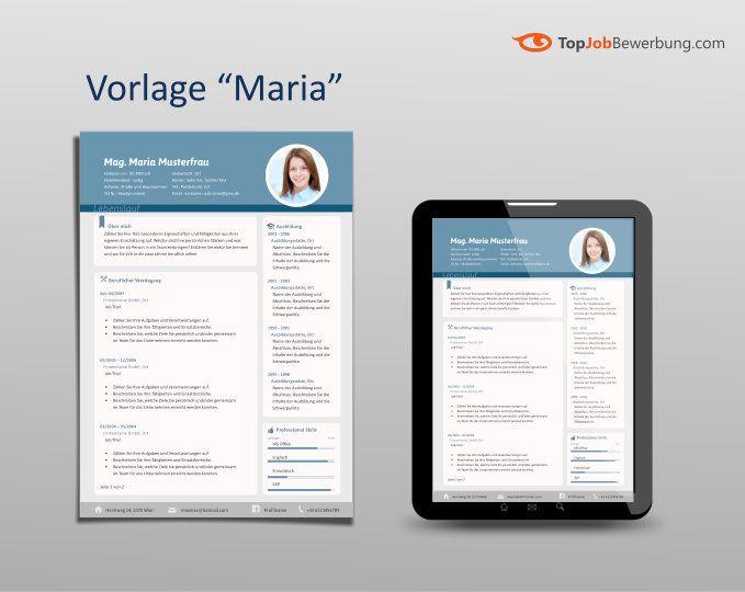 Lebenslauf Vorlage Maria zwei-Seiten A4 und iPad | Gruppe ...