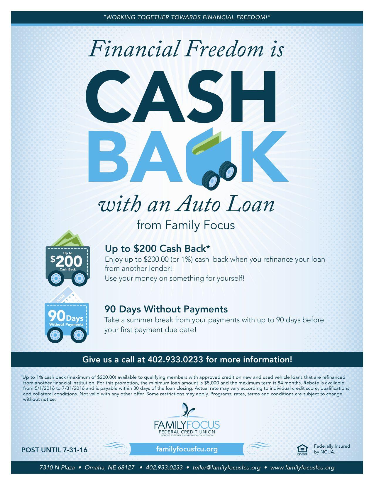 Cash back auto loan promotion car loans credit union