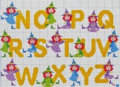 Gráficos Aqui - Artesanato: Bruxas de A a Z Monograma Ponto cruz