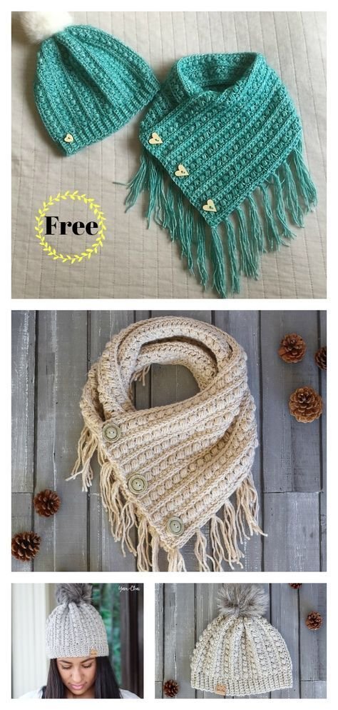 Malia Buttoned Cowl and Beanie Free Crochet Pattern ...