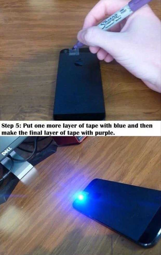 Phone Hack Make Your Own Black Light Phone Hacks Lights And - Transform your phone into a blacklight using just a tape and sharpie