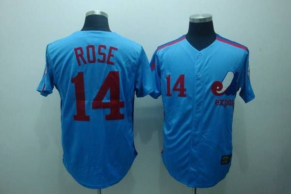 mitchell and ness expos 14 pete rose blue stitched throwback baseball jersey